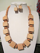 Cube Shape Natural Wood Wooden Bead Necklace earring Set