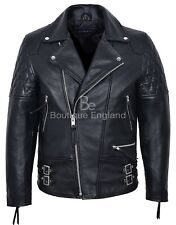 "Men's Biker Jacket Black ""RECKLESS"" Quilt CLASSIC BIKER STYLE HIDE LEATHER (233)"