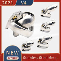 2021 New Metal V4 Male Chastity Device Set Stainless Steel Cage Ring Belt Fetish