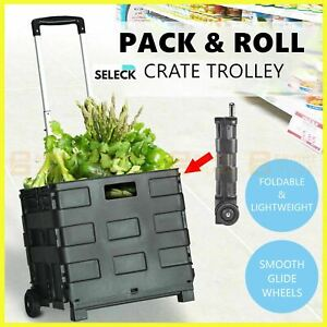 Foldable Shopping Cart Trolley Folding Grocery Basket Portable Crate Roll Pack