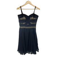 Alannah Hill Silk Black Sleeveless Fit And Flare Party Beaded Dress Size 10