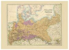 Germany Prussia Brandenburg Pomerania Silesia illustrated map Fullarton ca.1872