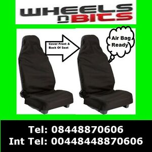 Van Truck Car Seat Cover Waterproof Nylon Front 2 Protectors Black fits Renault