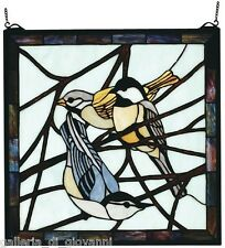 Early Morning Visitors Stained Glass Window Bird 18""