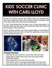 Kids' Soccer Clinic with Carli Lloyd comes w/ Hand Signed Photograph