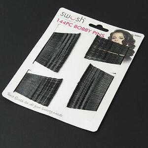144  Black Flat Top Bobby Pins Grips Hair Clips   pin 4.5 cm long