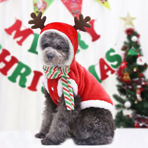 Pets Christmas Tree Clothes Small Dogs Cats Warm Costumes Wear Hat Puppy Outfit