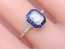ESTATE ART DECO .72ct EMERALD CUT DIAMOND SAPPHIRE HALO PLATINUM ENGAGEMENT RING