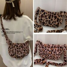 Women Fluffy Leopard Print Crossbody Small Bag Purse Soft Cute Shoulder Bag S1