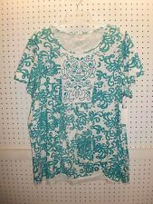 LAURA SCOTT Misses Size Large Embroidered Teal Print T / Tee Top FREE Shpg NWTA