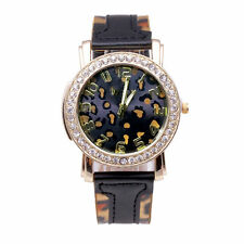 Ladies Fashion Gold & Crystal Quartz Leopard Face Black Leather Band Wrist Watch