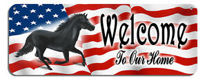 USA Flag Horse Welcome Wall Sign Customize Gifts Outdoor Indoor Plaque Stallion