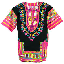Cotton African Dashiki Mexican Poncho Hippie Boho Shirt Blouse Black ad13p