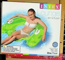 "1ct Green Sit N Float Inflatable Pool Lounge 60"" X 39"" 2 handles 2 cup holders"
