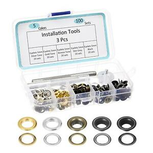 Grommet Tool Kit 100 Sets Copper Eyelets with 3 Tools, 5 Colors 5mm Inside Dia.