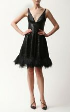 :) Naeem Khan Linear Beaded Black Dress With Feather Trim NWT 4  $5900