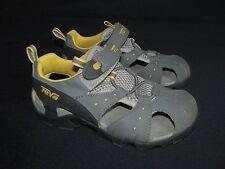 Teva Dozer Youth Boys Gray Nubuck Leather Sport Sandals, Velcrod, US 2, EU 32