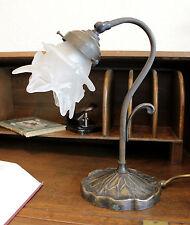 TISCH LAMPE LEUCHTE - JUGENDSTIL MESSING / TULPEN GLAS - ART NOUVEAU DESK LAMP