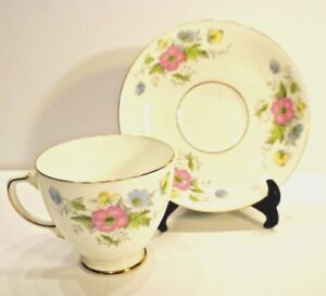Sampson Smith Tea Cup and Saucer Set 2491 pink, blue yellow flowers 1950-63.