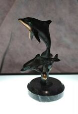 Two Dolphins Jumping Bronze Statue With Granite Base 6 In