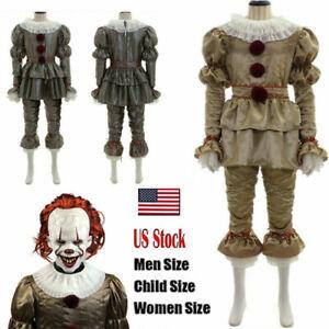 Halloween Stephen King Men Kids Costume Cosplay Joker Pennywise Clown It Chapter