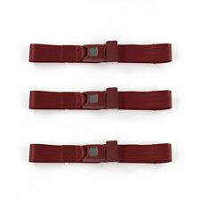 Early Cars 1928 1932 Standard 2 Pt. Burgandy Lap Bench Seat Belt Kit 3 Belts(Fits: More than one vehicle)
