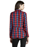 Lucky Brand - Women's M - NWT $79 - Red Plaid Back Overlay Flannel Twill Shirt