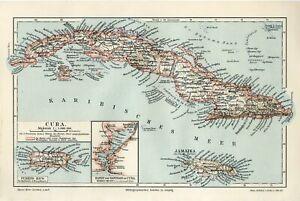 1895 CUBA JAMAICA PUERTO RICO Antique Map