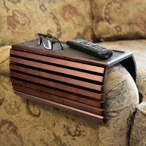 Wood Flexi Sofa Arm Rest Table - Dark Brown, Mahogany