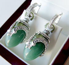GORGEOUS MADE OF STERLING SILVER 925  EARRINGS with GENUINE JADE and ENAMEL