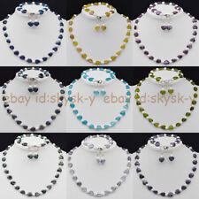 12MM Heart-shaped Gems Beads & 7-8mm White Pearl Necklace Bracelet Earrings Set