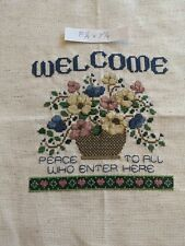 Handmade Cross Stitch Welcome Flowers Completed