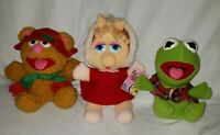 Henson Muppets Miss Piggy Fozzie Bear Kermit The Frog Christmas Plush 1980's 3pc