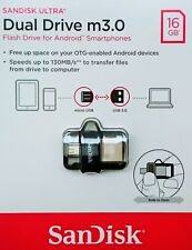 Sandisk Ultra 16GB Dual USB m3.0 micro USB OTG Stick 130MB/S SDDD3-016G NEU&OVP