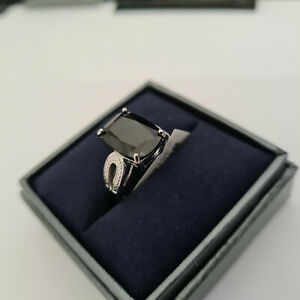Stunning Boi Ploi Black Spinel solitaire ring in platinum over sterling silver