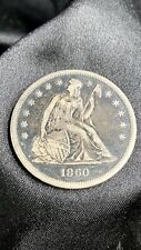 1860 O Seated Liberty Silver Dollar Coin New Orleans , Natural Toning