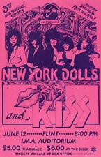 NEW YORK DOLLS / KISS Concert Window Poster IMA Auditorium Rock 1974 reprint