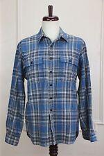 Ralph Lauren chin-strap blue/gray buffalo plaid soft ligh flannel shirt: M