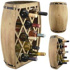 Large Wooden Barrel Wine Bottle Holder Display Storage Rack, Hand Made, Natural