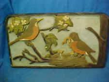 Early 20thc FOLK ART Hand CARVED + PAINTED WOOD Panel w ROBIN BIRDS in NEST etc