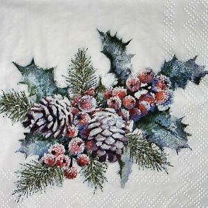 5 x Single Paper Cocktail Napkins - Decoupage - Christmas Holly & Berries  BC18