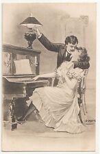 Künstler Ak erotisches Liebespaar Flügel Petroleumlampe sign. W.Braun um 1910 !