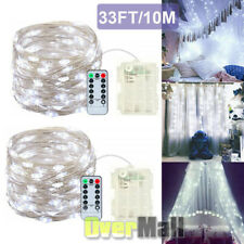 2xOutdoor String Lights 8Mode 33Ft 100LED Copper Wire Fairy Starry Battery Power