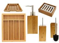 Bambus Klobürste Seifenspender Seifenschale Besteckkasten Ausziehbar Edelstahl
