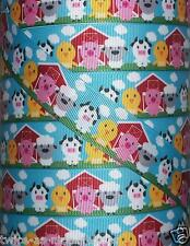 "5 Yds 1"" SHEEP COW PIG CHICKEN RED BARN FUN FARM ANIMALS GROSGRAIN RIBBON"