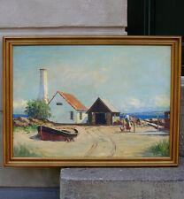 TH. Skovgaard (1913) Allinge Harbor. Bornholm island. Fine 1940s oil painting
