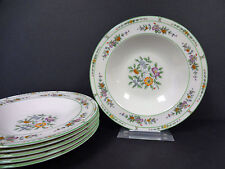 "Coxon American Belleek China Green Floral Soup Bowls 8 1/4"" Set of 6"