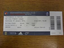 01/01/2014 Ticket: Southampton v Chelsea  (complete, folded). If this item has a