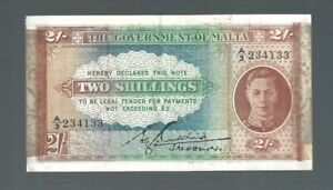 Malta ✨ THE GOVERNMENT OF MALTA ✨ 1940-1943 ISSUE 2 SHILLINGS P-17c with WMK