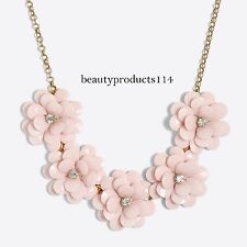 2017 NWT J.Crew Factory Crystal Floral Burst Statement Necklace Pale Pink Pouch